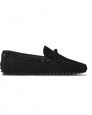 Mens Black Suede Loafers - Chelsea Driving Shoes
