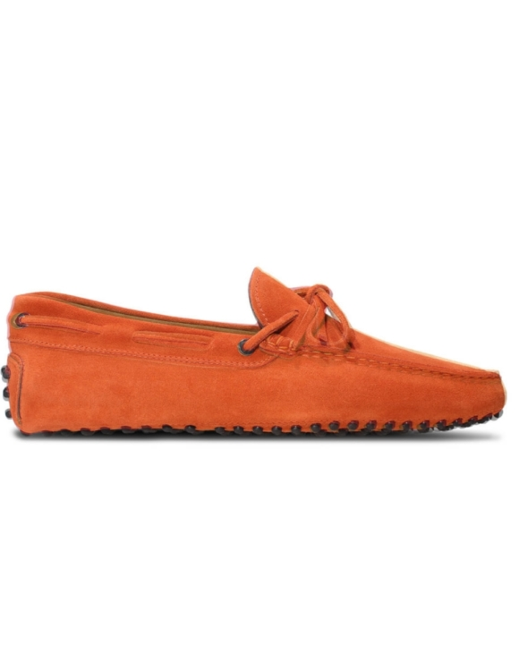 mens orange suede driving shoe loafers chelsea slip ons london loafers 4