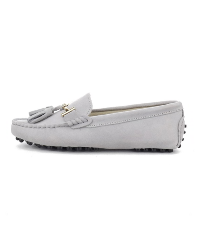 myloafers womens tassel driving shoes powder grey